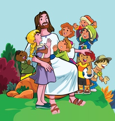 Jesus merciful with group children vector