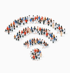 Large group people in wi-fi sign shape vector