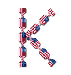 Letter K made of USA flags in form of candies vector image