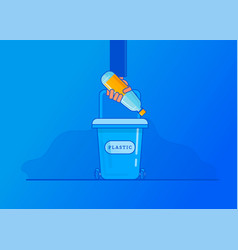 man hand throws garbage in trash vector image