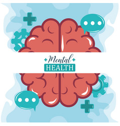 Mental health day human brain speech bubbles vector