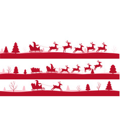 Merry christmas landscapes set of red festive vector