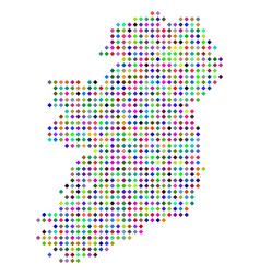 Multi colored dot ireland island map vector