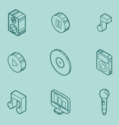 Music color outline isometric icons vector