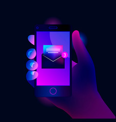 New open email notification on mobile phone vector