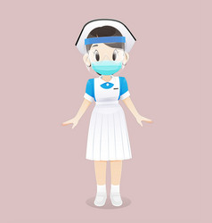 Nursing student wearing a medical mask vector