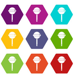 round lollipop icons set 9 vector image