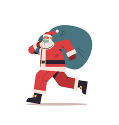 santa claus in protective mask running with sack vector image
