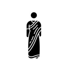 Sari black glyph icon vector