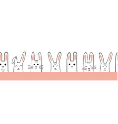 seamless horizontal pattern with bunny faces vector image