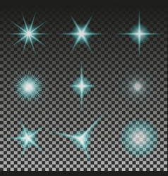 set of glowing light stars with sparkles eps 10 vector image