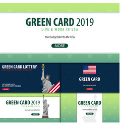 Set of green card lottery banners immigration and vector