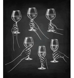 set of hands with wine glasses vector image