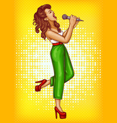 singing young woman with microphone pop art vector image