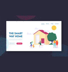 Smart way home landing page children playing vector