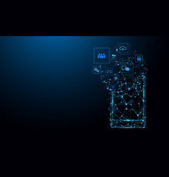 smartphone with app icons abstract technology vector image