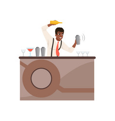 Smiling bartender shaking and mixing alcohol vector