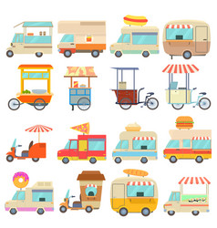 Street food vehicles icons set cartoon style vector