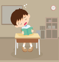 student boy read a book but sleeping in classroom vector image
