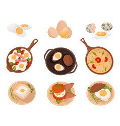 Tasty dishes made from eggs set raw boiled and vector