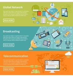 Telecommunication horizontal banners vector