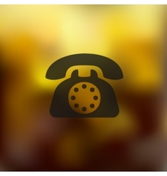 Telephone icon on blurred background vector
