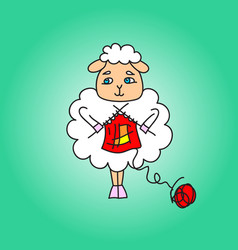 The sheep knit a red scarf drawing vector