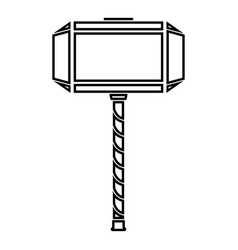 Thors hammer mjolnir icon black color flat style vector