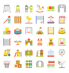 toys playground and rides icon flat design vector image