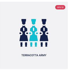 Two color terracotta army icon from cultures vector