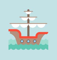 Vintage galleon in sea waves flat design nautical vector