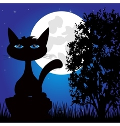 Wild panther on nature in the night vector image