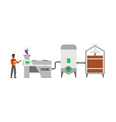 Wine conveyor facilities and barrels flat cartoon vector