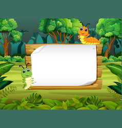 Wooden board blank space with cute caterpillar vector