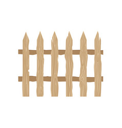 Wooden picket fence protective barrier for farm vector