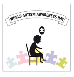 World autism day a little lonely boy sits vector