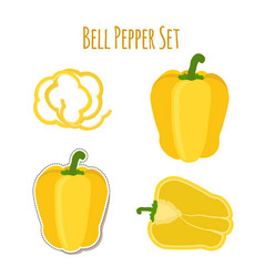 yellow bell pepper set made in cartoon flat style vector image