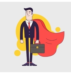 Young serious businessman superhero with leather vector