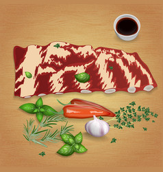 beef rib chops with delicious sauces and spices vector image
