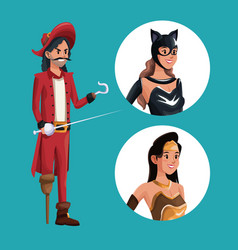 Blue poster with pirate man costume and icons vector