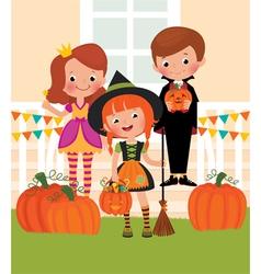 Children in celebration of Halloween on the doorst vector image vector image