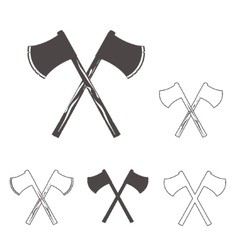 Crossed axes silhouettes set for logo design vector image vector image