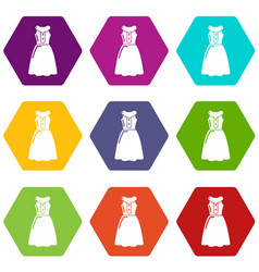 dress model icons set 9 vector image