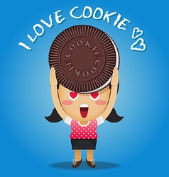 happy woman carrying big chocolate cookie vector image vector image