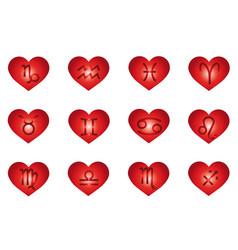 Heart zodiac signs horoscope love vector
