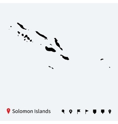 High detailed map of Solomon Islands with pins vector image vector image