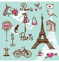 Paris symbols vector image