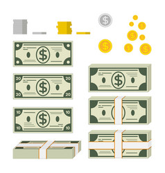 set of paper money and coins vector image