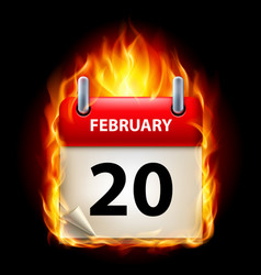 twentieth february in calendar burning icon on vector image