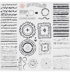 Doodle pattern brusheswreathframeburstBlack vector image vector image